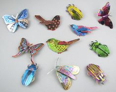 Melanie Tomlinson - Butterfly, Birds and Beetle brooches-  printed tin-The Scottish Gallery