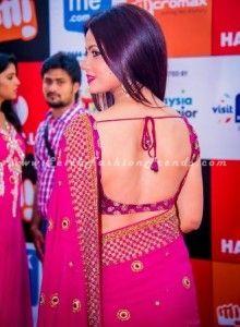 Neetu Chandra in Backless Blouse Pink Saree at SIIMA Awards 2014