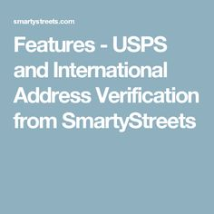 Features - USPS and International Address Verification from SmartyStreets Responsive Web Design, Portfolio Design, Ecommerce, Portfolio Design Layouts, E Commerce
