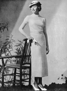 """1930s Crocheted Dress Pattern """"Terrace""""  Vintage Crochet Pattern PDF, c. 1935"""