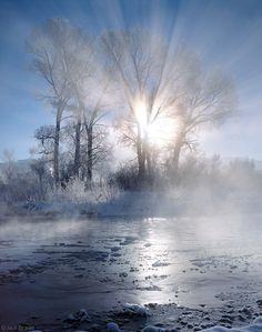 Uncompahgre Morning  Ridgway, Colorado  Winter sunrise along the Uncompahgre River, on a frigid bluebird December morning