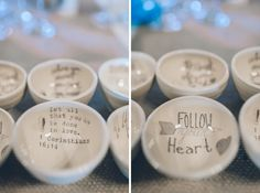 Customized bowls as wedding favors for a Lake Valhalla Wedding in Montville, NJ. Captured by NJ wedding photographer Ben Lau.