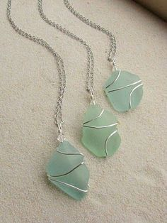 DIY friendly ~ Wire-wrapped sea glass necklaces.  My wire-wrapping skills are still developing but these would be pretty with a variety of beads or stones.