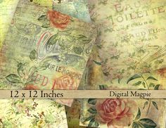 shabby roses vintage scrapbook paper textured digital paper pack aged tattered Victorian grunge 12 x 12 printable floral instant download by DigitalMagpie on Etsy