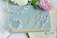 Купить Свадебный набор украшений из речного жемч/ свадебное украшение невесты - белый, украшение для невесты