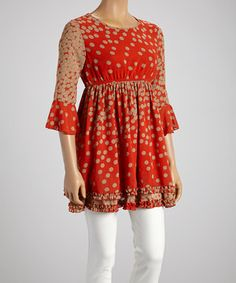 Another great find on #zulily! Lady Noiz Coral Polka Dot Ruffle-Hem Tunic - Women by Lady Noiz #zulilyfinds