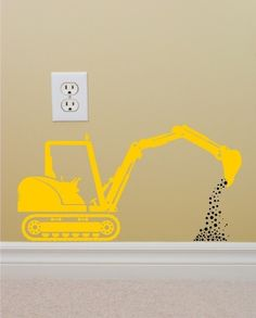 Vinyl Wall Decal Construction Backhoe by greywolfgraphics on Etsy, $12.00