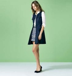 patterned skirt, sleeveless coat