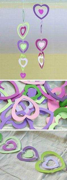 guirlande-en-papier-coloré-pieces-en-forme-de-coeur-idée-activité-créative-maternelle-pour-saint-valentin