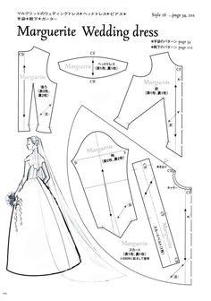 Marguerite Wedding Dress Pattern - Page 1 of 3 Hier sind mehrere Barbiepuppenschnittbücher mit Schnitten zu finden.
