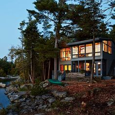 Located on a private outer island with sweeping views of Georgian Bay, the cottage has eight acres for little ones to scamper through. | Photographer: Stacey Brandford Designer: Sarah Richardson