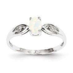 14k White Gold Genuine Opal Diamond Ring Opal / 7, - Sparkle & Jade