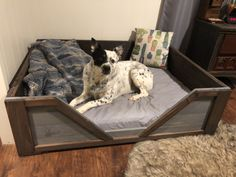 """We adopted a dog from the Humane Society a month ago. She is a beagle / german shepherd mix. Before we even got a dog my husband made the rule """"no dogs on the bed."""" So I knew I had to make her the coolest bed… Rustic Dog Beds, Pallet Dog Beds, Small Toddler Bed, German Shepherd Mix, Diy Dog Bed, Dog Beds For Small Dogs, Beagle Dog, Cool Beds, Dog Houses"""