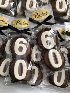 60th Birthday Party Candy Favors!!! Milk Chocolate Oreo Cookies... Sixty-Five year old Celebration www.rosebudchocolates.com