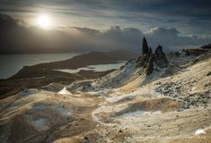 A stunning view of snow on the ground across the famous Isle of Skye walk, The Old Man of Storr, Scotland