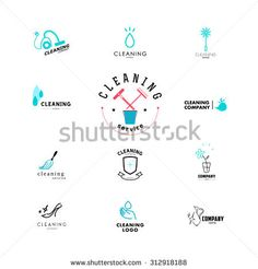 Vector collection of flat logo for cleaning company. Cleaning logo with feather, duster cleaner symbol. Cleaning Company Logo, Cleaning Companies, Cleaning Logos, Cleaning Tips, Carpet Cleaning Business, Cleaning Business Cards, Flat Design Icons, Logo Design, Icon Design