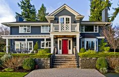 I ADORE this blue, white, and red color combo | Traditional Exterior by Seattle Home Stagers Andrea Braund Home ...