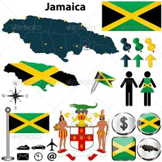Vector of Jamaica set with detailed country shape with region borders, flags and icons. Package contains: EPS (10 version), JPG (5000×5000 pixels, RGB). $4.00