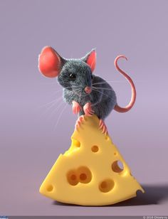 mouse and cheese by Chicory-ru on DeviantArt Fondant Animals, Felt Animals, Baby Animals, Cute Animals, Maus Illustration, Pet Mice, Hamster, Cat Mouse, House Mouse
