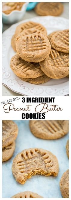 Flourless 3 Ingredient Peanut Butter Cookies are perfectly soft, chewy & super easy to make! Plus they're naturally gluten free & contain NO butter or OIL!