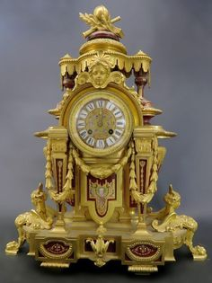 Buy online, view images and see past prices for Magnificent French Bronze & Sevres Porcelain Clock. Invaluable is the world's largest marketplace for art, antiques, and collectibles. Antique Clocks, Vintage Clocks, Antique Watches, Vintage Watches, Vintage Music, Vintage Cars, Classic Clocks, Retro Clock, Wall Clock Online