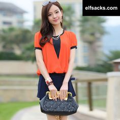 Womens two piece Chiffon Round Collar Short Sleeve Orange Tshirt