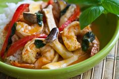 Thai Shrimp Curry and Rice Recipe || Jaden Hair, who writes the blog Steamy Kitchen, promises this entire meal comes together in a flash. She cooks jasmine rice in the microwave while a coconut Thai curry—which you can make with shrimp, chicken or tofu—simmers on the stove.