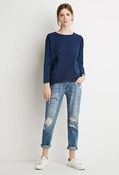 Oversized Front-Pocket Dolman Sweater | LOVE21 - 2000158256