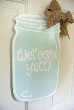 Mint Mason Jar Welcome Y'all Wooden Door Sign with burlap ribbon - rustic, rustic home decor, rustic wedding