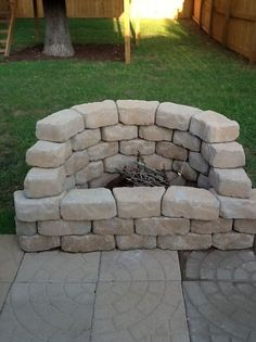 DIY firepit --- staggered --- love this for the ivy in the back