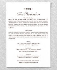 wedding invite insert idea