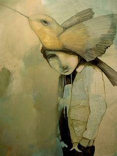 ⍕ Paintings of People & Pets ⍕ Beth Bojarski Bird People, People Art, Found Object Art, New Shows, Art Plastique, Bird Art, Figurative Art, Les Oeuvres, Painting & Drawing
