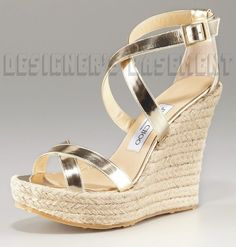 Jimmy Choo Gold 41 Patent Porto Strappy Espadrille Wedge Sandals Nib Authentic