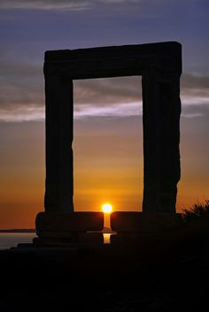 Temple of Apollo sunset on the island of Naxos, Greece