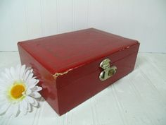 Vintage Burgundy Red Mitchell Jewelry Box  Retro by DivineOrders