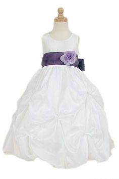 Organza Common Flower Sash Trimed Ball Gown Junior Formal Dress