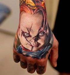 Chucky Tattoo On Guy's Hand