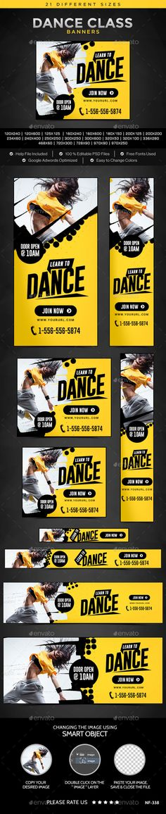 Dance Class Banners Template. Download: http://graphicriver.net/item/dance-class-banners/11269952?ref=ksioks