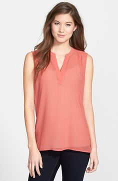 Free shipping and returns on Caslon® Split Neck Sleeveless Blouse (Regular & Petite) at Nordstrom.com. Pleating at the shoulders and back shapes a light and billowy blouse cut from sheer georgette.