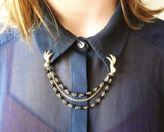 Brass Claw Lapel Collar Clips with Black Beaded Chain.