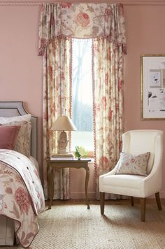 Pinch Pleated Draperies from the Florabunda Fabric Collection - Calico Corners Window Swags, Window Coverings, Bay Window, Calico Corners, Curtains With Blinds, Curtain Valances, Custom Window Treatments, Custom Windows, Window Styles
