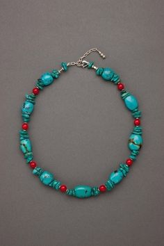 """TURQUOISE DELIGHT  Your casual every day style gets an uplift in this Natural Stabilized Turquoise and Red Bamboo Coral Necklace with Turquoise chips and Sterling Silver elements. Flexible lengths in a Sterling Silver Lobster Clasp with 2"""" extender. Limited Edition. L 17 ½ . . . Coordinating Earrings Available  $149"""