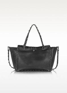 New Arrivals: Valentino - Rockstud Rolling Noir Black Leather Medium Tote