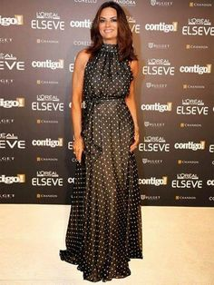 Luiza brunet black and white polka dot Lovely Dresses, Modest Dresses, Beautiful Outfits, Strapless Dress Formal, Casual Dresses, Fashion Dresses, Formal Dresses, Men's Fashion, Fashion Trends