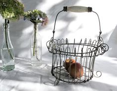 circa 1940-50 French vintage wire fruits basket love
