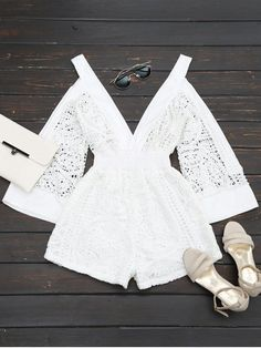 858029e6a3 Plunging Neck Cold Shoulder Hollow Out Rompers Women Summer Dressy