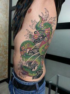 Snake tattoo on side oriental by Evgeniy Oriental Tattoo, Side Tattoos, Snake Tattoo, Tattoo Photos, Tattoo Artists, Watercolor Tattoo, Style, Cobra Tattoo, Swag