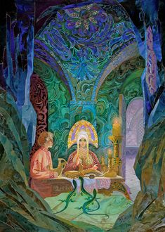 The Ural Tales. Illustrator V. Art And Illustration, Illustrations, Fantasy Kunst, Fantasy Art, Russian Folk Art, Eye Painting, Woman Painting, Fairytale Art, Klimt