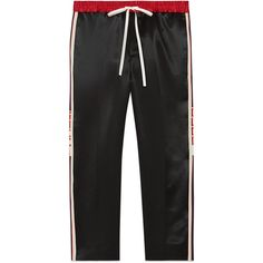 Gucci Acetate Jogging Pant With Stripe ($990) ❤ liked on Polyvore featuring men's fashion, men's clothing, men's activewear, men's activewear pants, men, ready-to-wear, trousers & shorts and mens activewear pants