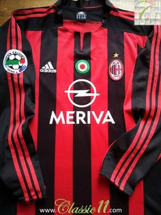 Relive AC Milan's 2003/2004 Serie A season with this vintage Adidas home long sleeve football shirt.